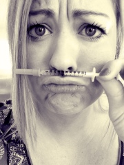 "Being silly this morning and avoiding my shot ... ""i mustache, do I have to give myself this shot?"""