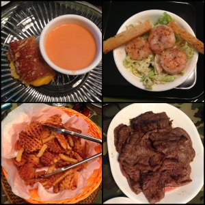 Grilled cheese and tomato soup, caesar salad with grilled shrimp, waffle fries and steaks....
