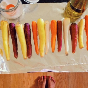 prepping my carrots.