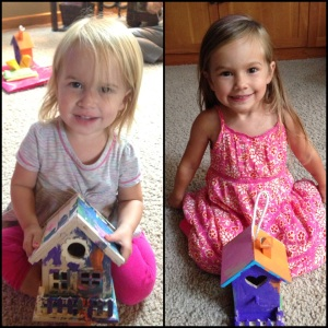 My adorable nieces made me painted birdhouses. So cute!