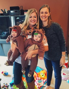 Carolyn and her two littles. I'm certain they adored being dressed like reindeers for our amusement. :)